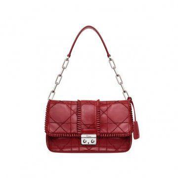 NEW LOCK红色CANNAGE经典藤格纹刺绣装饰小手提包