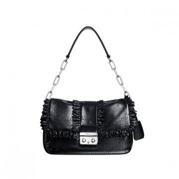 NEW LOCK黑色藤格纹缝线手提包