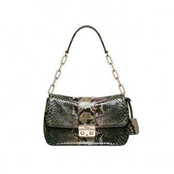 NEW LOCK 绿色蟒蛇皮手提包
