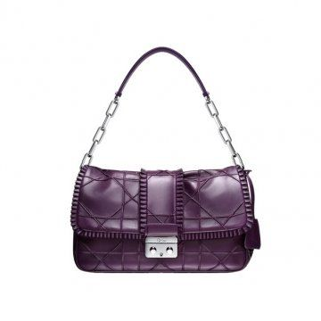 NEW LOCK DIOR紫色羊羔漆皮手提包