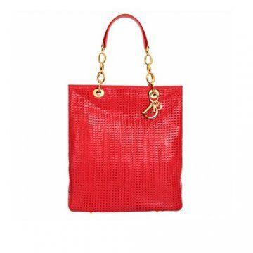 红色皮编手袋
