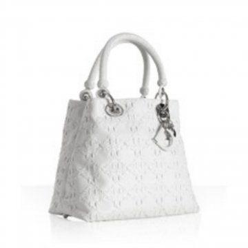 白色印花羊皮Lady Dior小号手袋