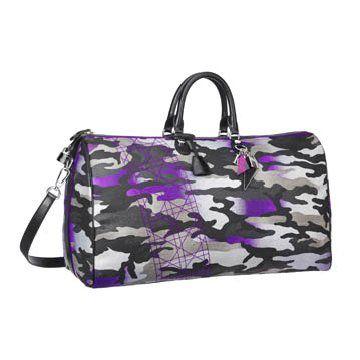 荧光紫迷彩旅行包