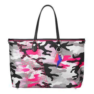 荧光桃红迷彩手提包