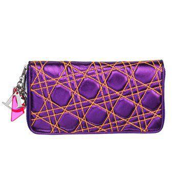 荧光紫绗缝羊皮手拿包