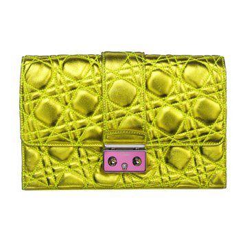 荧光黄绗缝羊皮手拿包