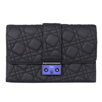 黑色绗缝羊皮手拿包