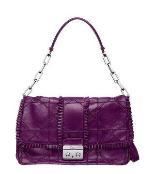 New Lock紫色皮革单肩包