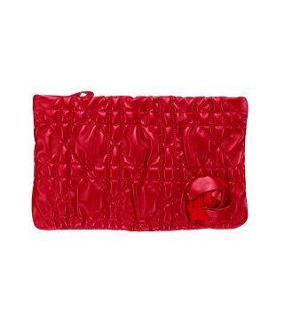 鲜红藤格纹手拿包