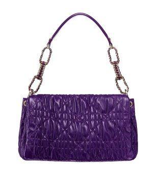紫色藤格纹肩包