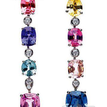 彩色宝石耳饰