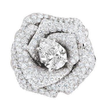 迪奥玫瑰花钻石戒指
