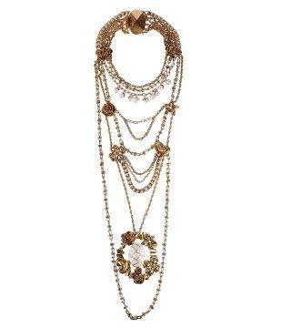 珍珠与花朵链条项链