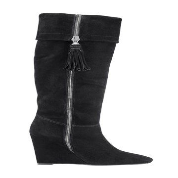 黑色中筒靴