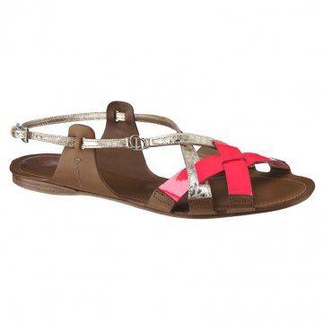 荧光红平底凉鞋