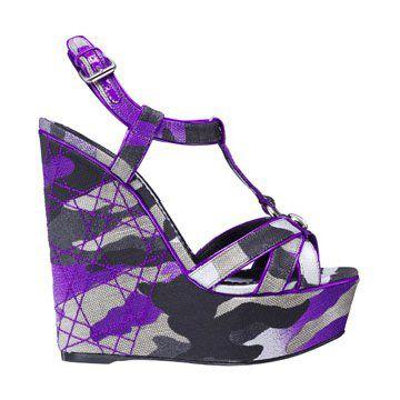 荧光紫色迷彩坡跟鞋