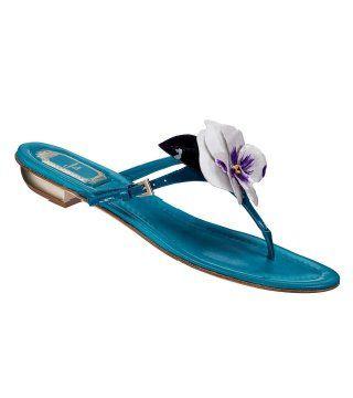 花饰青绿色平底凉鞋