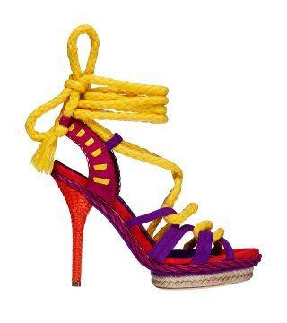 荧彩撞色麻编凉鞋