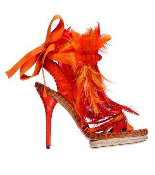橙色羽毛麻编凉鞋