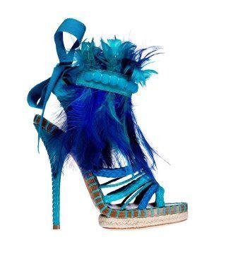 琉璃青色羽毛麻编凉鞋