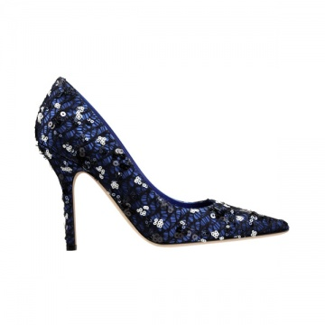 黑色和蓝色亮片尖头高跟鞋