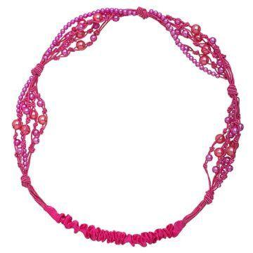 粉色珠片发带