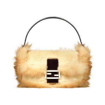 咖色毛皮手提包