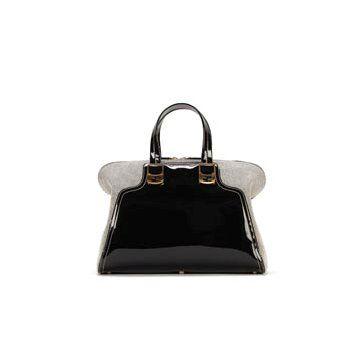 黑色漆皮手提包