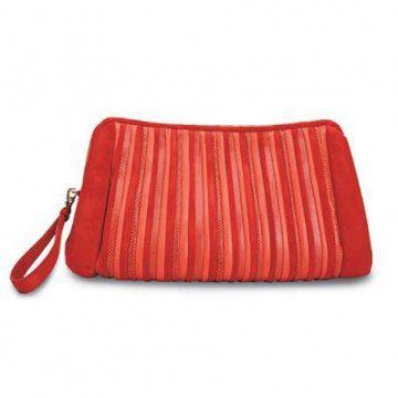 红色麂皮丝绒手袋