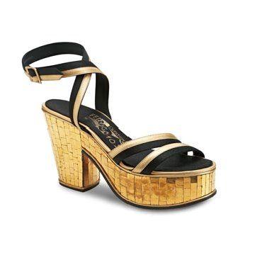 金色亮片厚底鞋