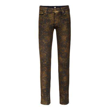 金色印花牛仔裤