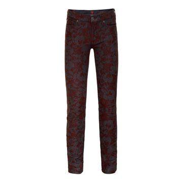 酒红色印花牛仔裤