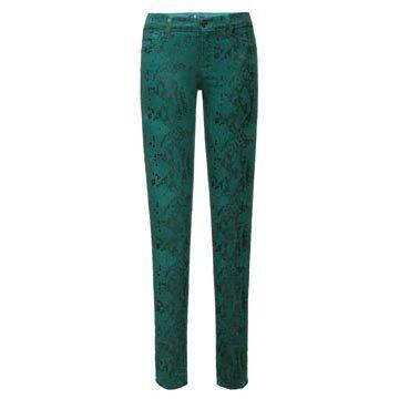 石绿色蛇纹牛仔裤