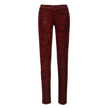 红色蛇纹牛仔裤