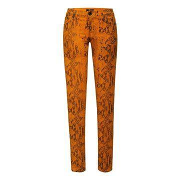 黄色蛇纹牛仔裤