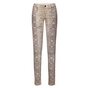 白色蛇纹牛仔裤
