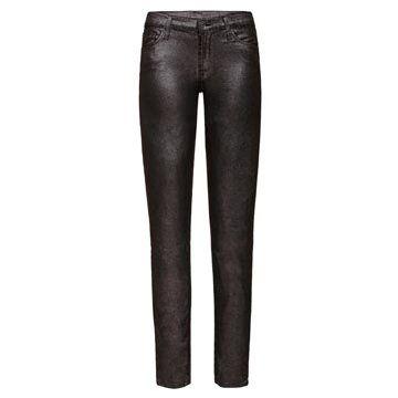 黑色金属牛仔裤