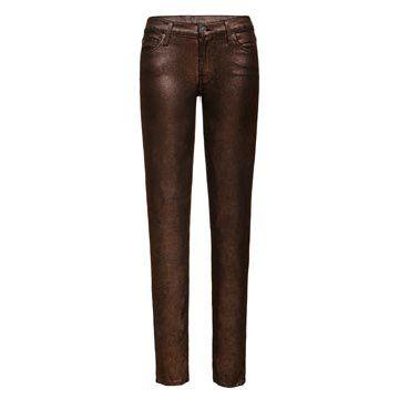 铜色金属牛仔裤