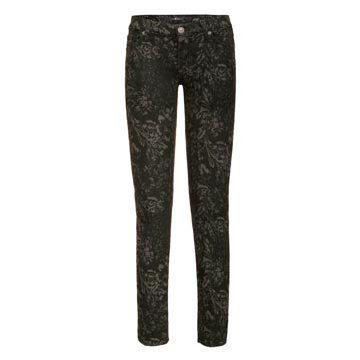 黑色水洗印花牛仔裤