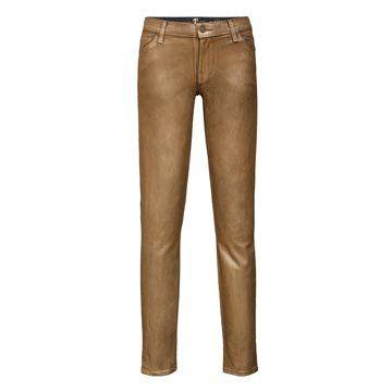 金属瘦腿牛仔裤