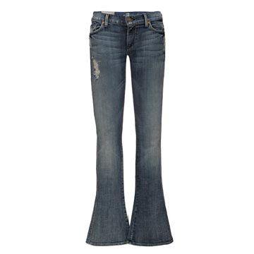 淡蓝色喇叭牛仔裤