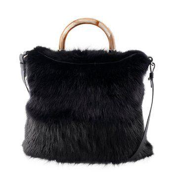 黑色皮毛手拎包