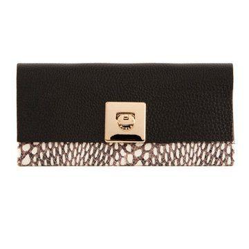 黑色蛇纹长款钱包