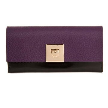 黑紫拼色长款钱夹