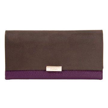 紫褐拼色长款钱夹