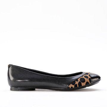 黑色豹纹拼接平底鞋
