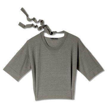 迦达瓦灰色短袖羊毛衫