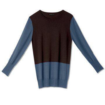 迦达蓝棕拼色套头羊毛衫