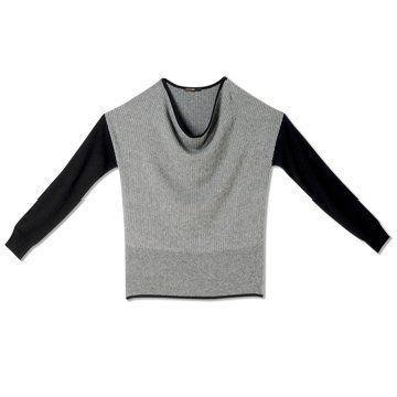 迦达灰黑拼接羊毛衫