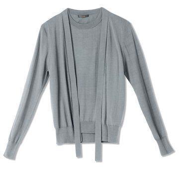 迦达浅灰色羊毛衫